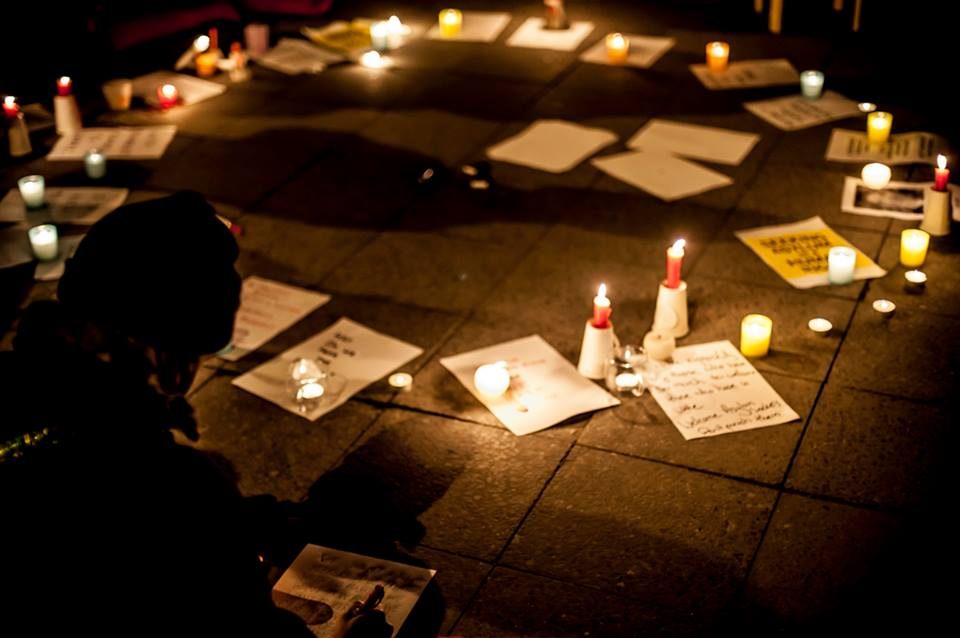 People attend a vigil at the Australian embassy in Berlin following the incident at the Manus Island detention centre in which the asylum-seeker Reza Barati was killed. Copyright 2014, Kate Seabrook
